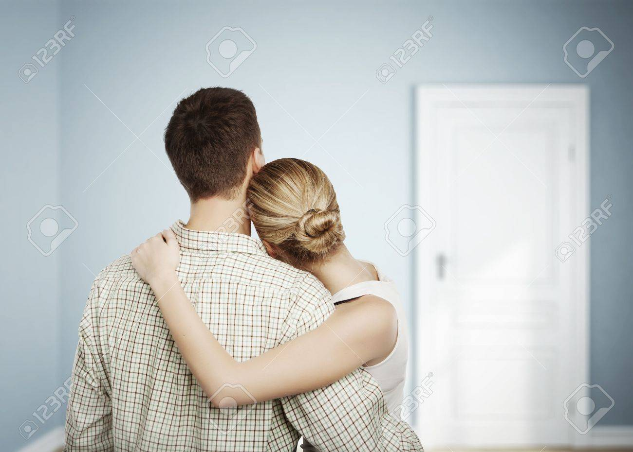 man and woman in blue room Stock Photo - 17281357