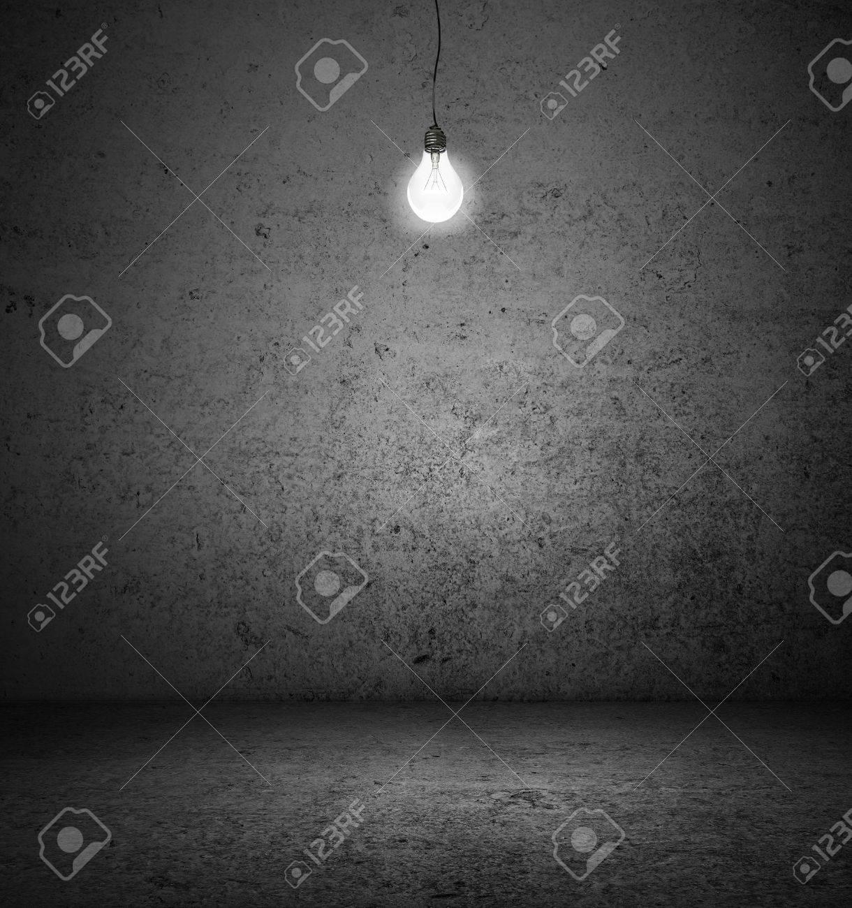 Dark room with light bulb - Stock Photo High Resolution Dark Room With Lightbulb