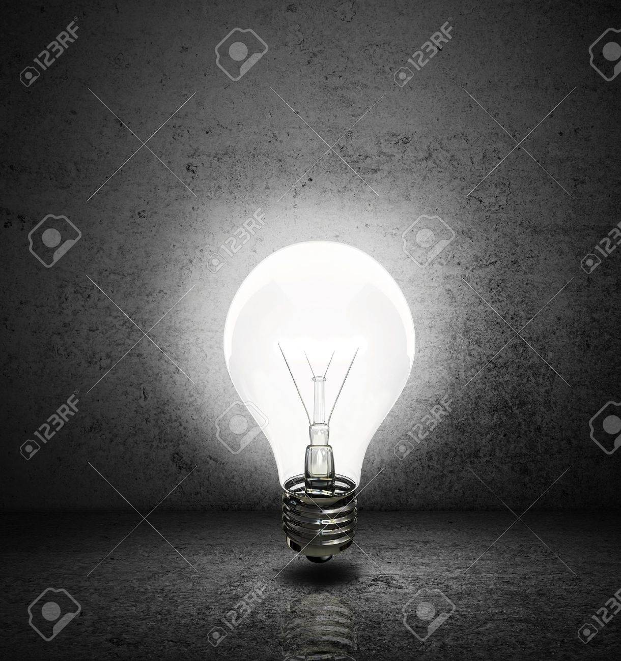Dark room with light bulb - Stock Photo High Resolution Lightbulb With Dark Room