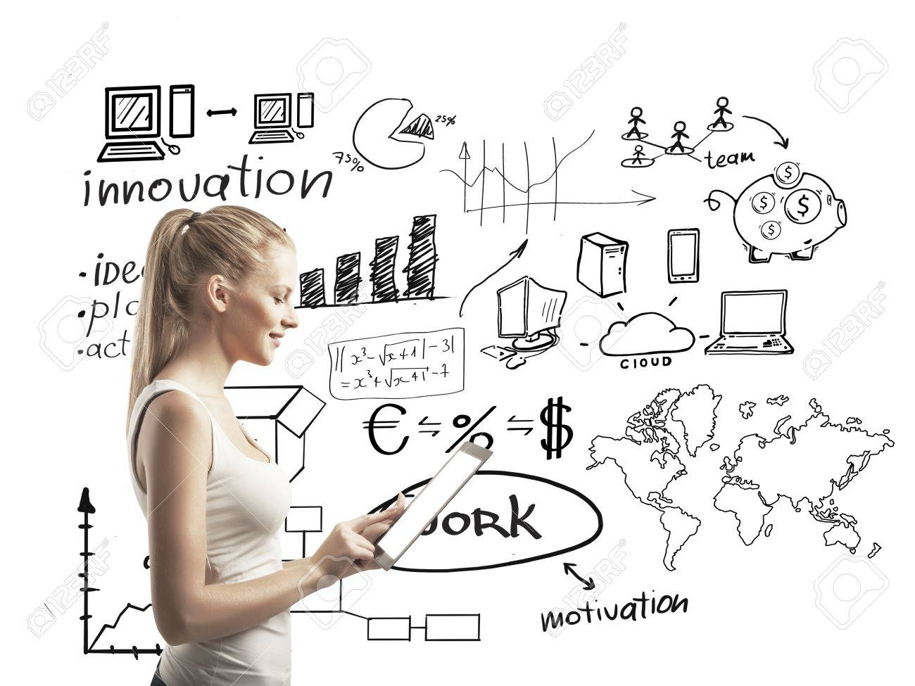 Smiling woman with touchpad and business scheme Stock Photo - 17414983