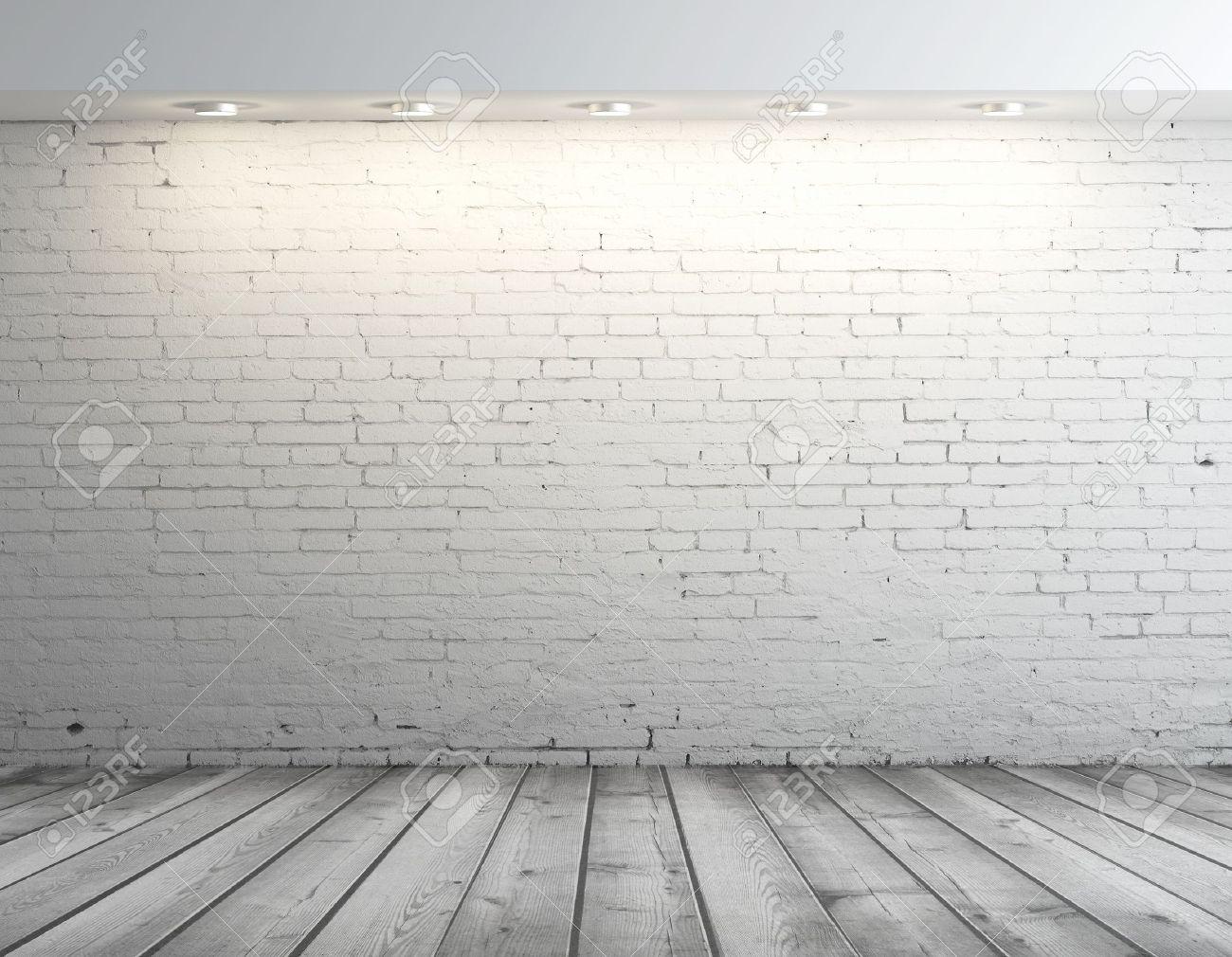 high resolution brick wall and gray floor - 17414821