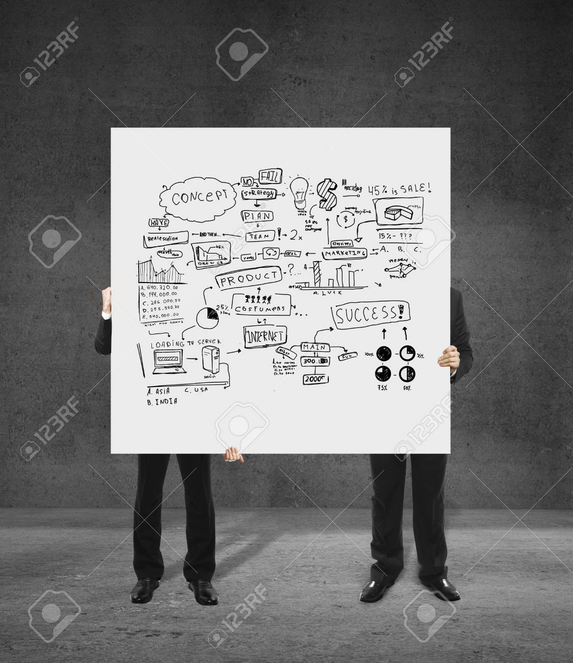 two men holding a poster with business concept Stock Photo - 17466308