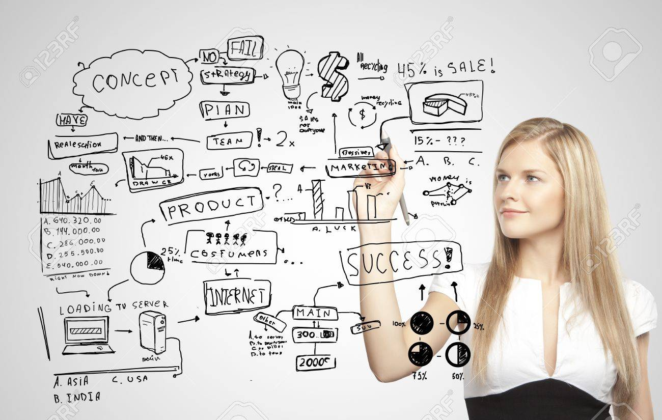 businesswoman darwing plan business strategy Stock Photo - 17538938