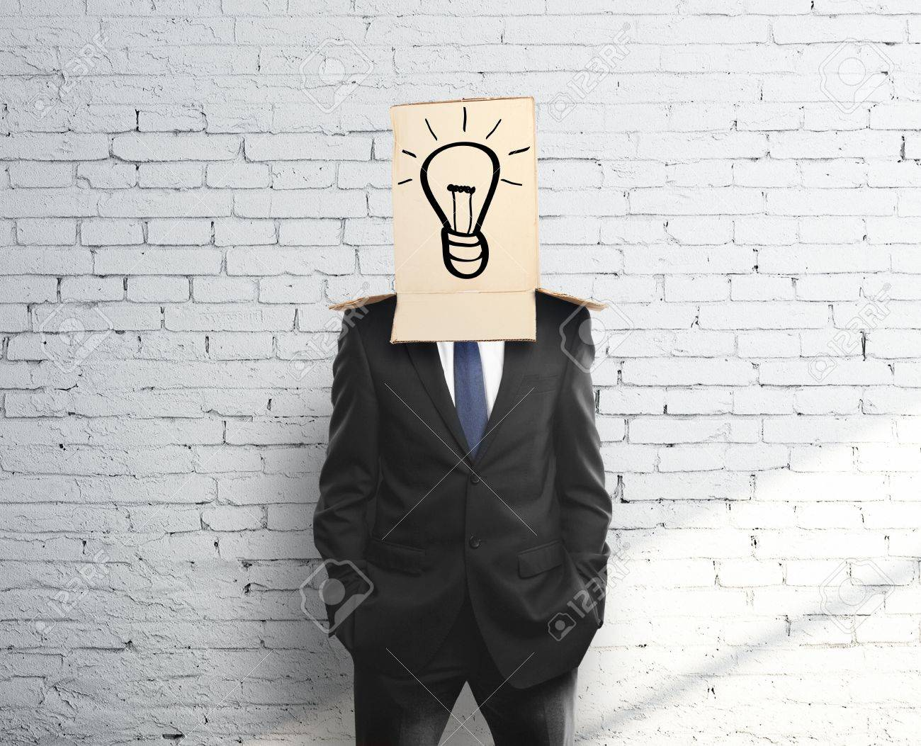 man with a box on head with lamp Stock Photo - 17689572