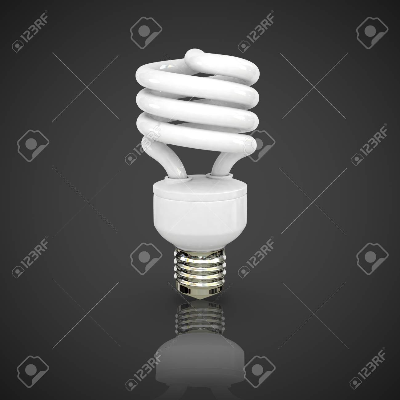 Energy saving fluorescent lightbulb on black background Stock Photo - 17686602