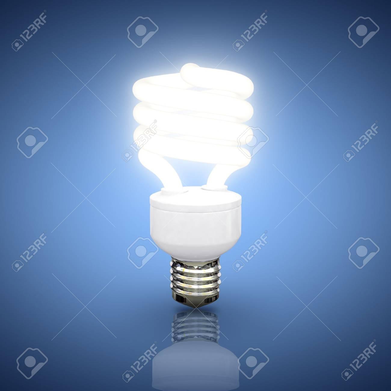 Energy saving fluorescent lightbulb on blue background Stock Photo - 17686597