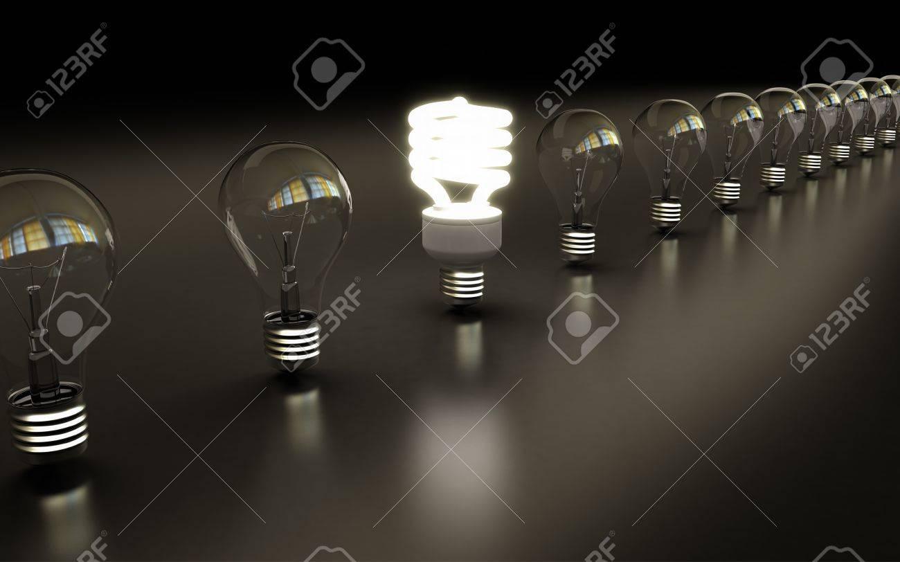 light bulbs on black background Stock Photo - 17686542