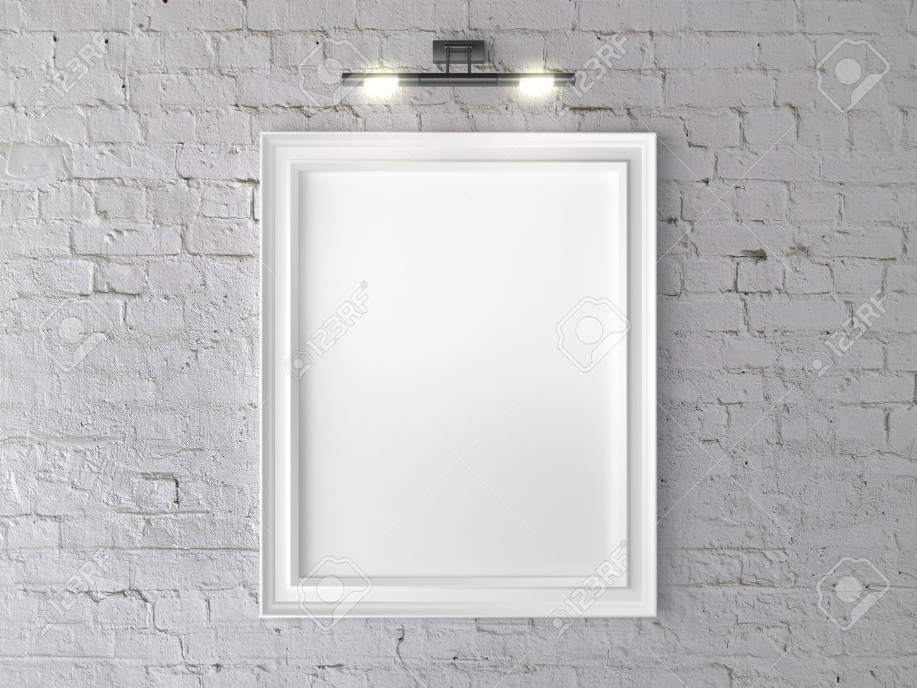 White Frame On Wall With Wall Lamp Stock Photo, Picture And Royalty ...
