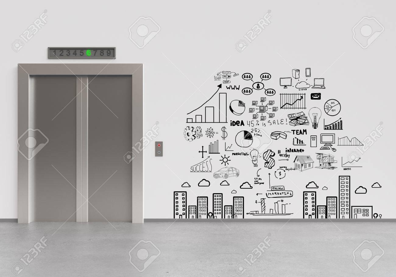 closed door drawing. Elevator With Closed Doors And Drawing Business Plan Stock Photo - 18187641 Door C