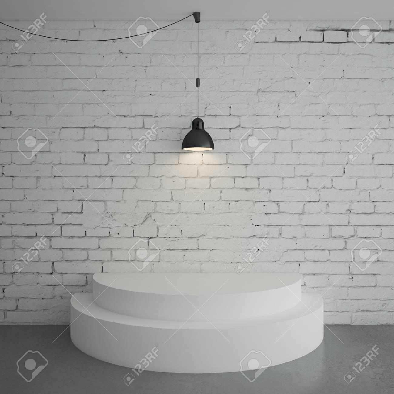 white brick room with podium Stock Photo - 18187717