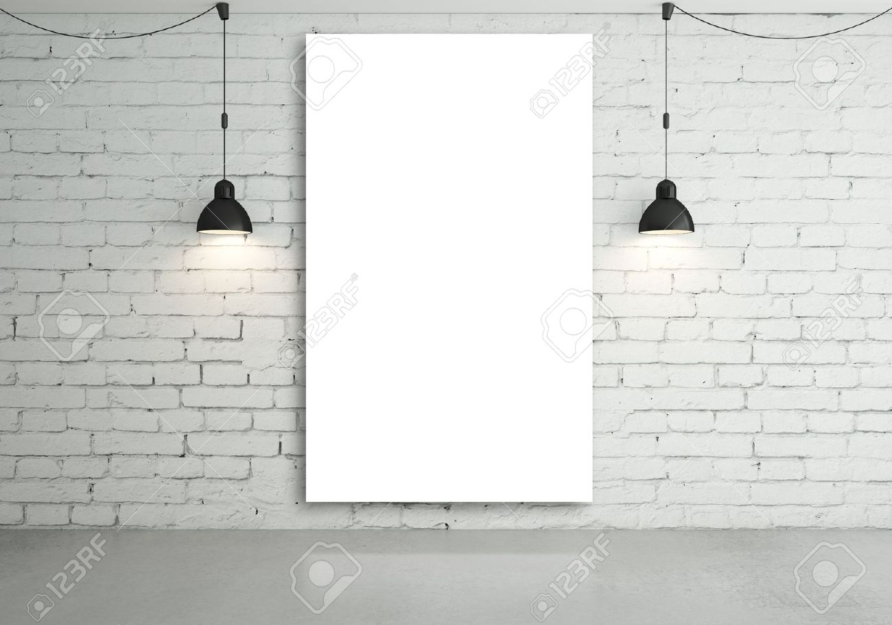two lamps and blank poster on wall Stock Photo - 18187688