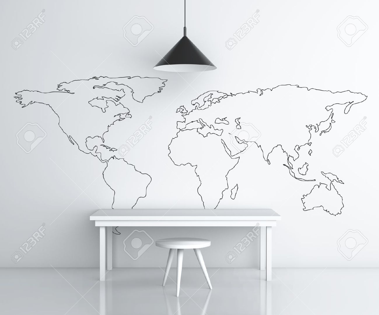 Room with furniture and drawing world map on wall stock photo room with furniture and drawing world map on wall stock photo 18187896 gumiabroncs Gallery