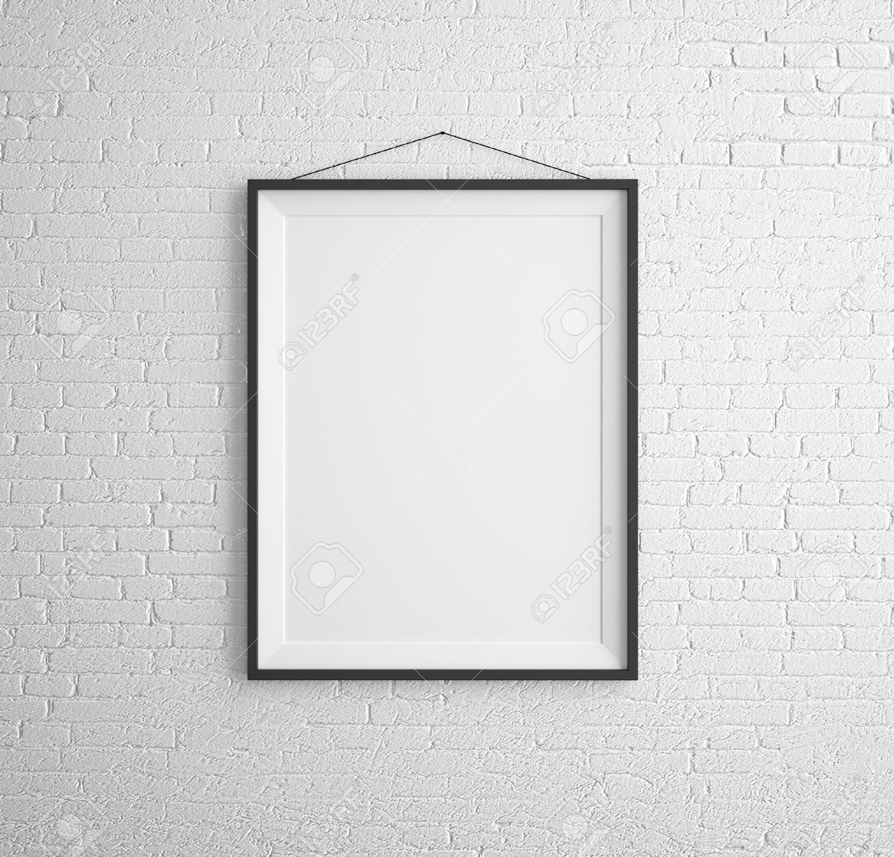 Black Frames On Brick Wall Stock Photo, Picture And Royalty Free ...