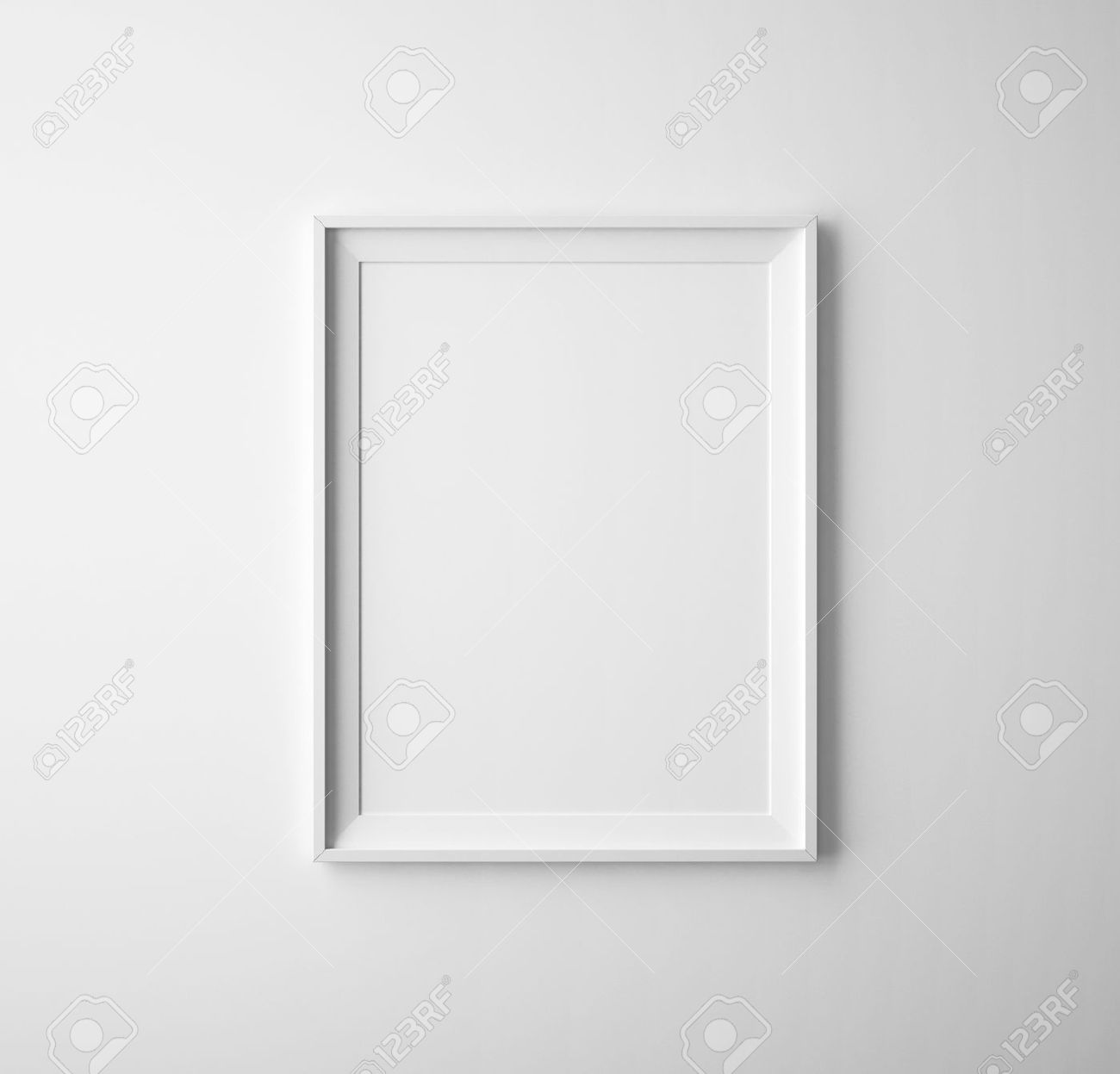 stock photo blank paper frames on white wall