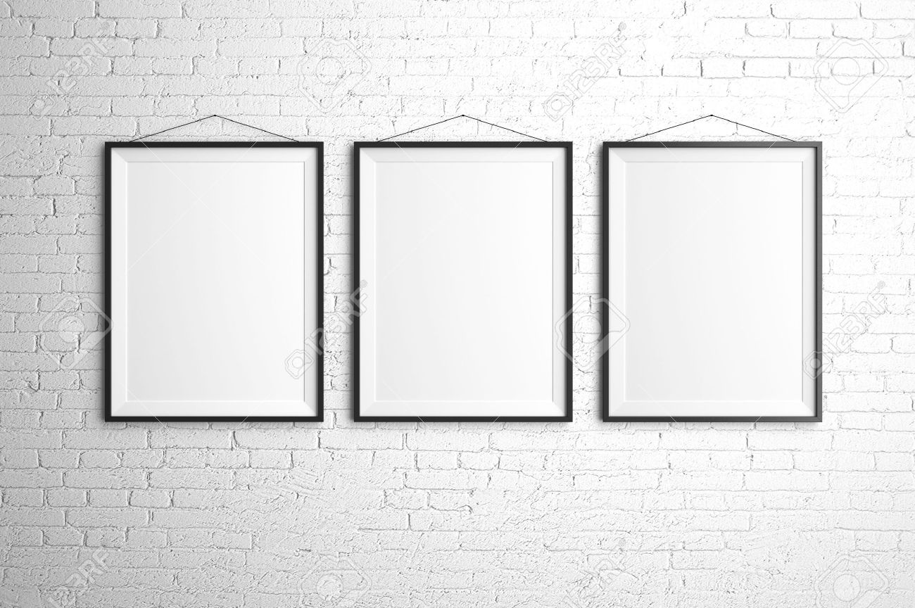 Frames On Wall three black frames on brick wall stock photo, picture and royalty