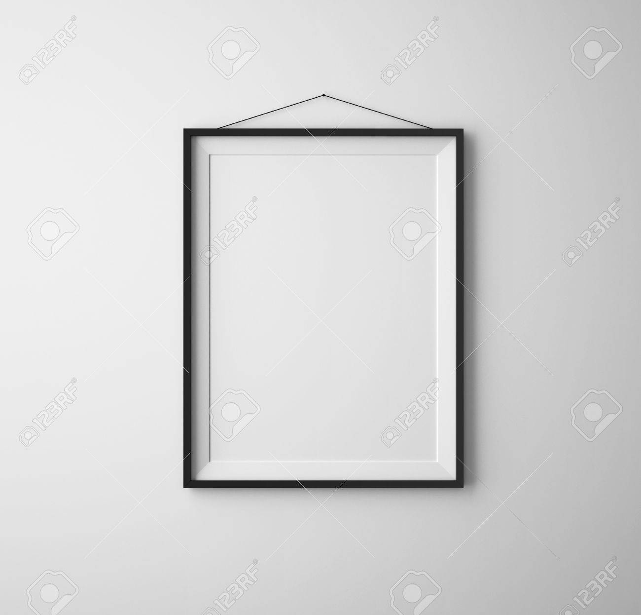 Black Frames On White Concrete Wall Stock Photo, Picture And Royalty ...