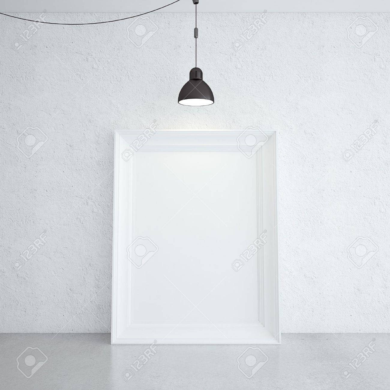 white frame in room and lamp - 18505537