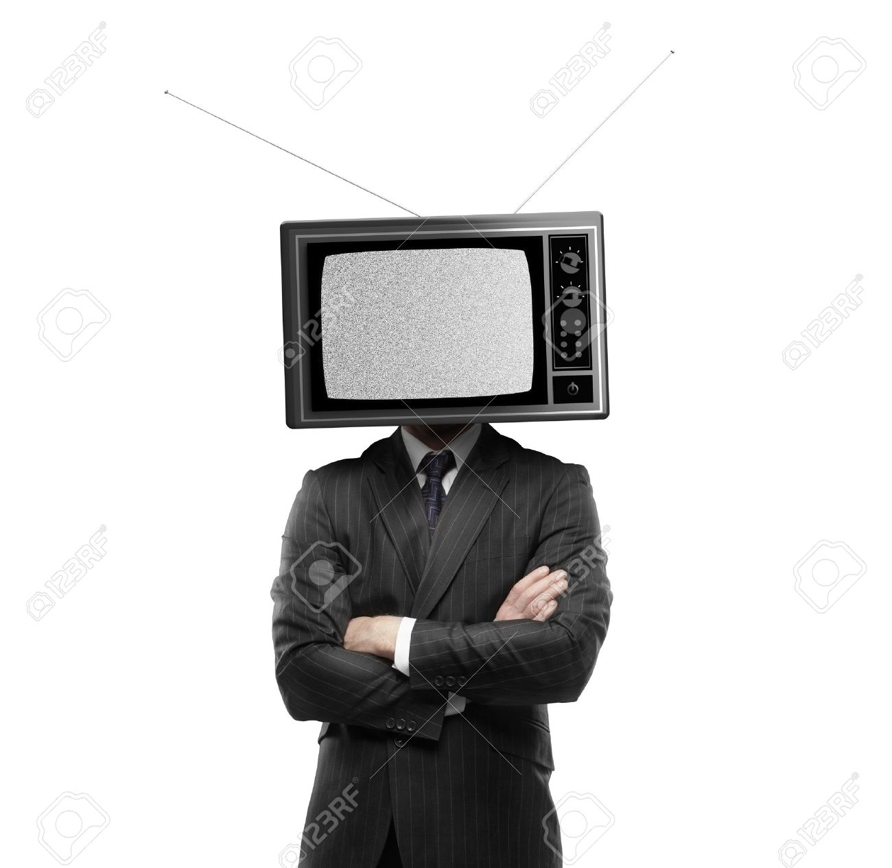businessman with tv head on a white background Stock Photo - 18665172