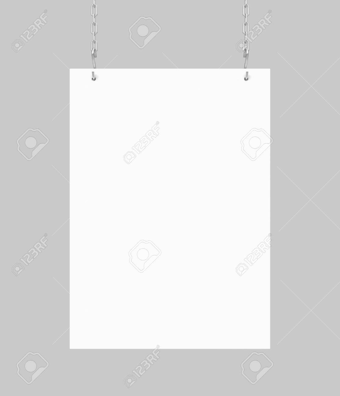 white blank poster hanging on chain Stock Photo - 18760993