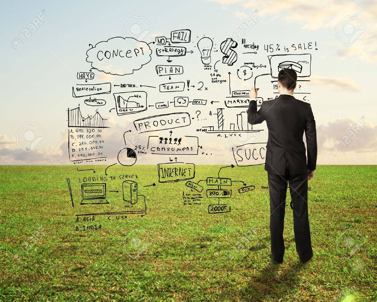 businessman drawing business concept on nature background Stock Photo - 18761073