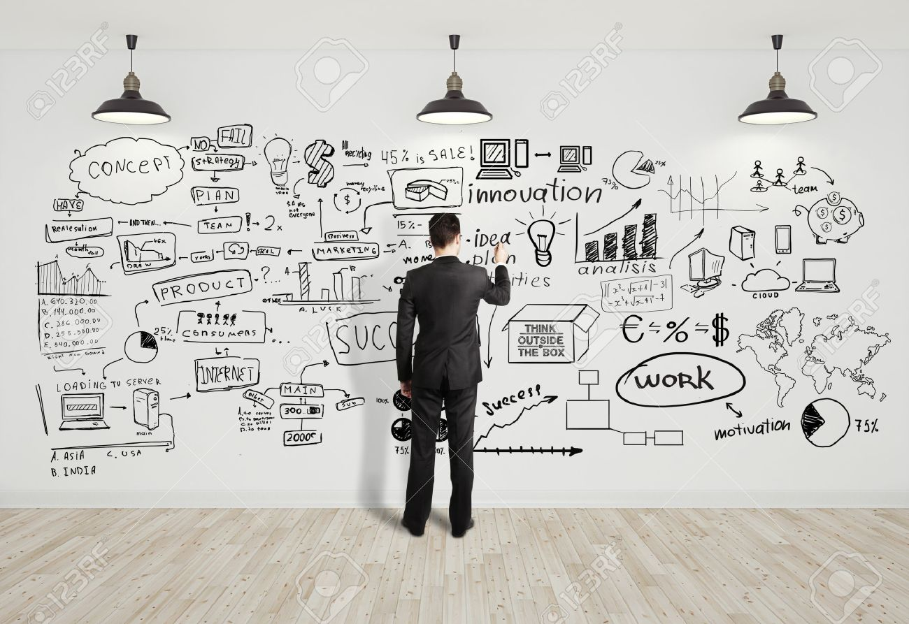 stock photo businssman drawing business concept on white wall business concepts