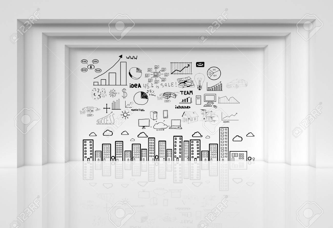 abstract architecture with drawing business strategy on wall Stock Photo - 19090274