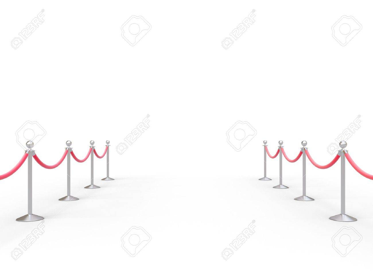 stanchions barrier in white room Stock Photo - 19090252