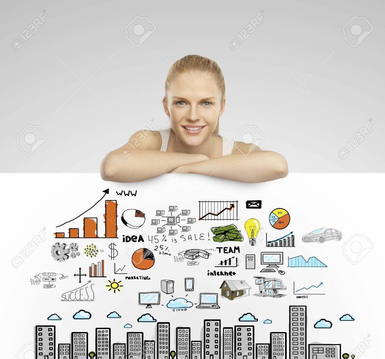 beautiful woman holding white poster with business concept Stock Photo - 19063802