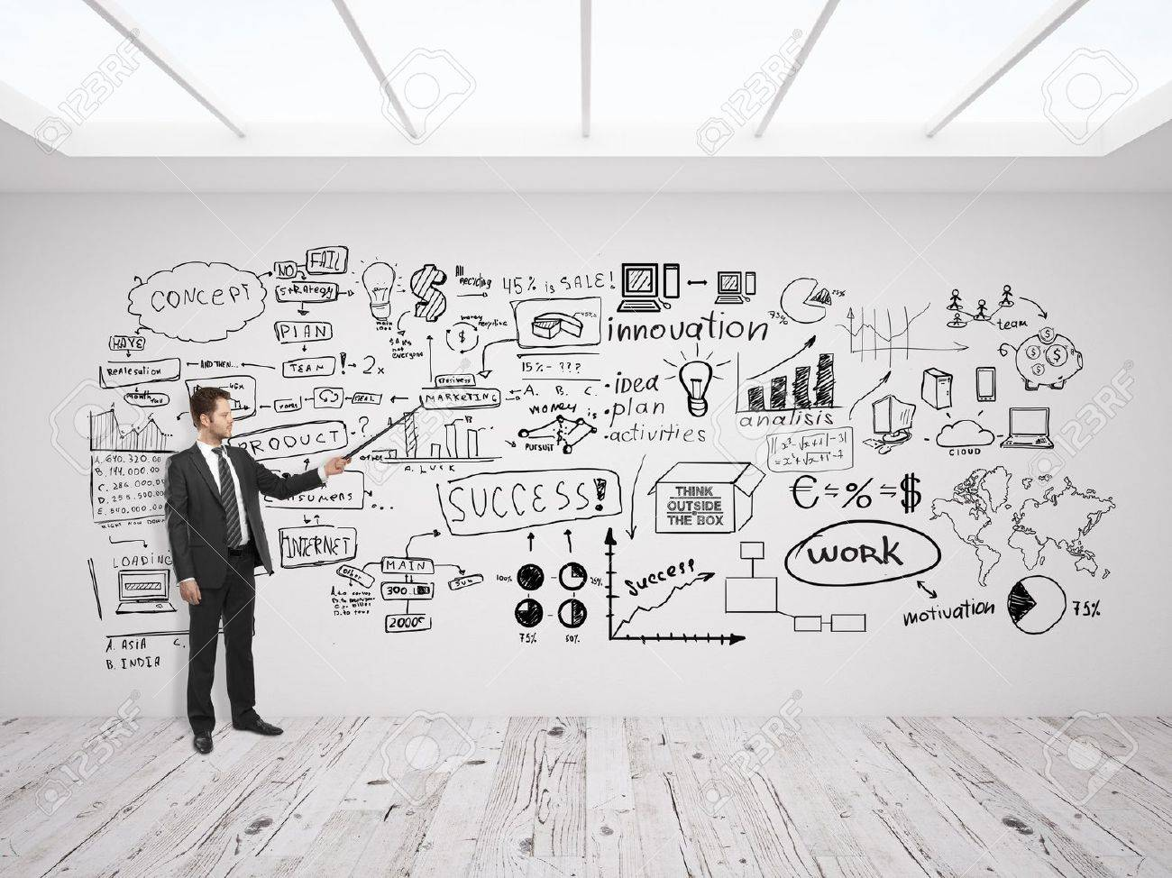 businssman pointing at business concept on white wall Stock Photo - 19457258