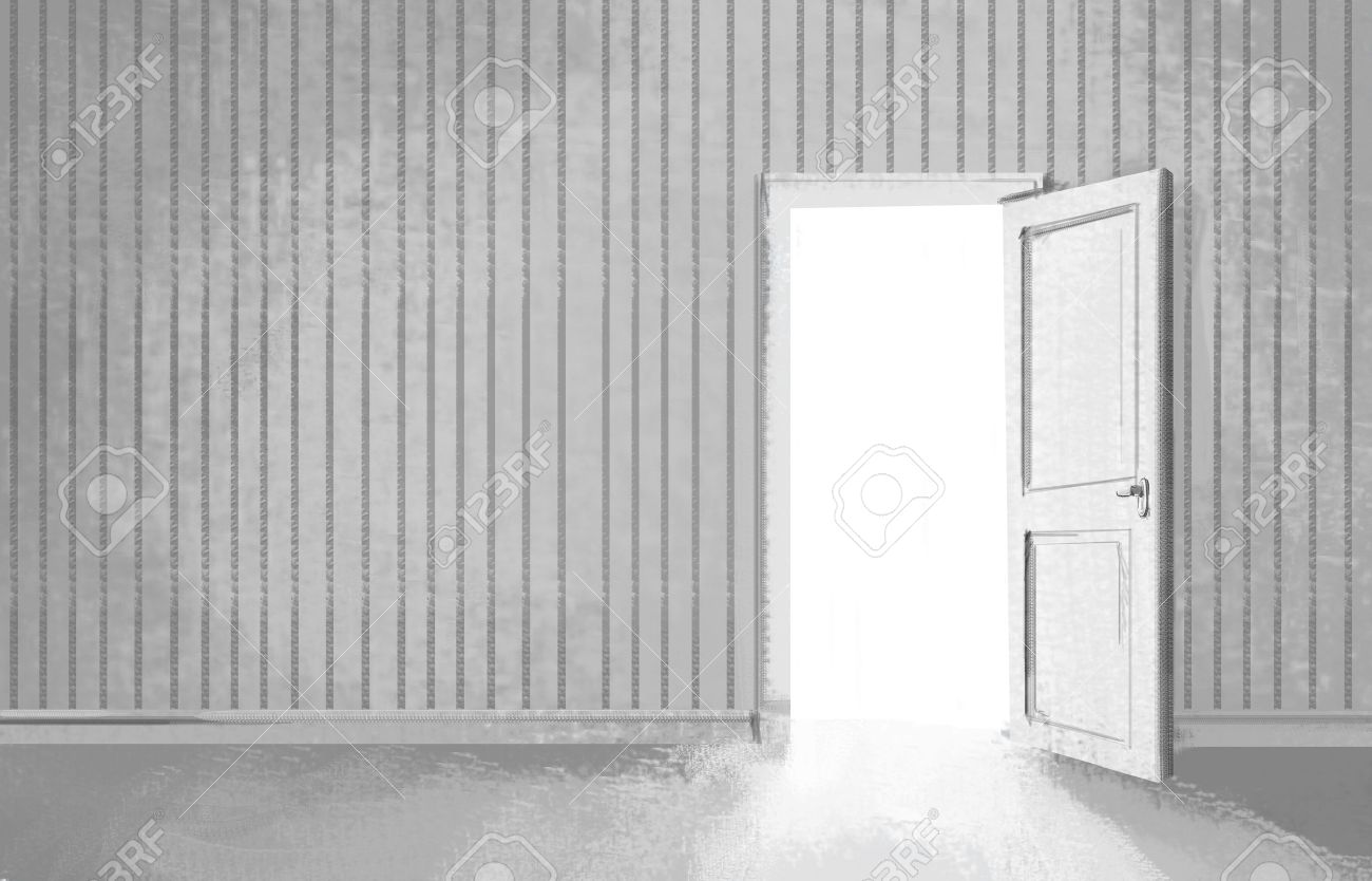 Open door drawing perspective - Door Open Drawing Gray Room With Opened Door Stock Photo