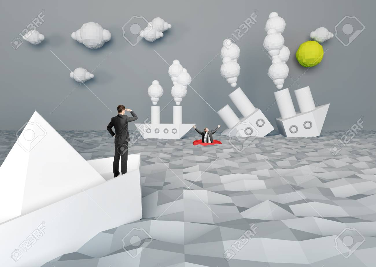abstract paper battle ship and people Stock Photo - 20829914