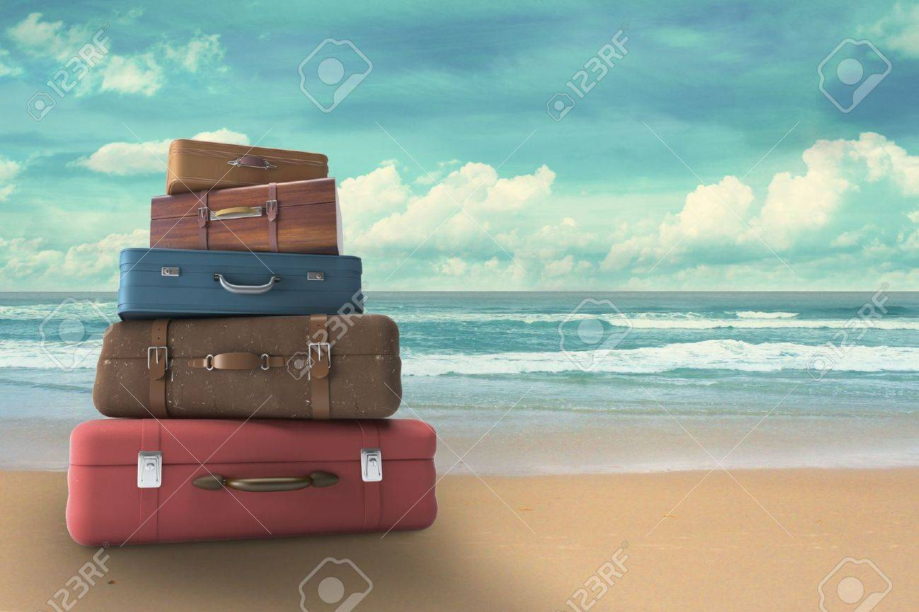 bags on beach, travel concept Stock Photo - 20984005