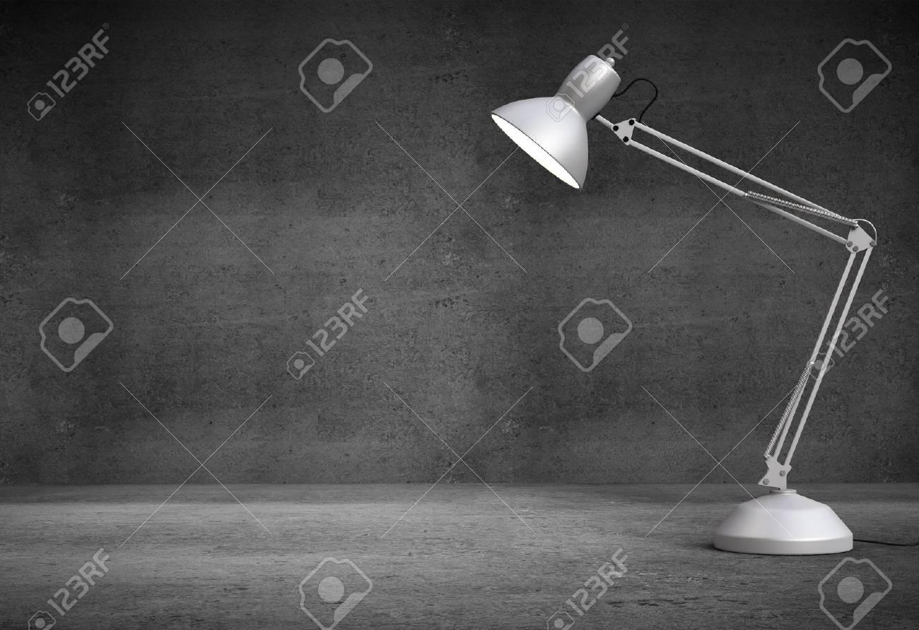 Vintage white desk lamp in concrete interior Stock Photo - 21689909