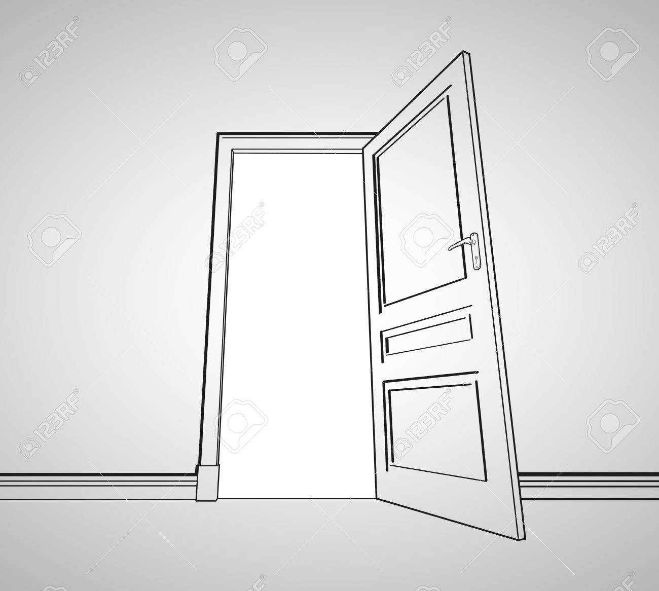 open door drawing drawing gray room with opened door stock photo 22461205 drawing gray room with opened door photo picture and royalty