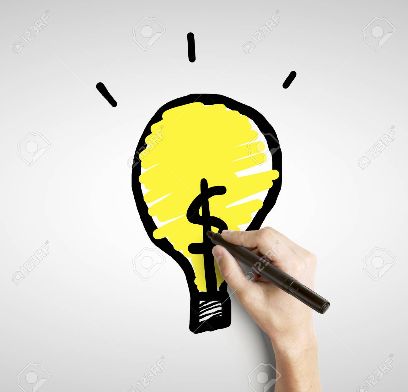 hand drawing bulb with dollar Stock Photo - 22470963