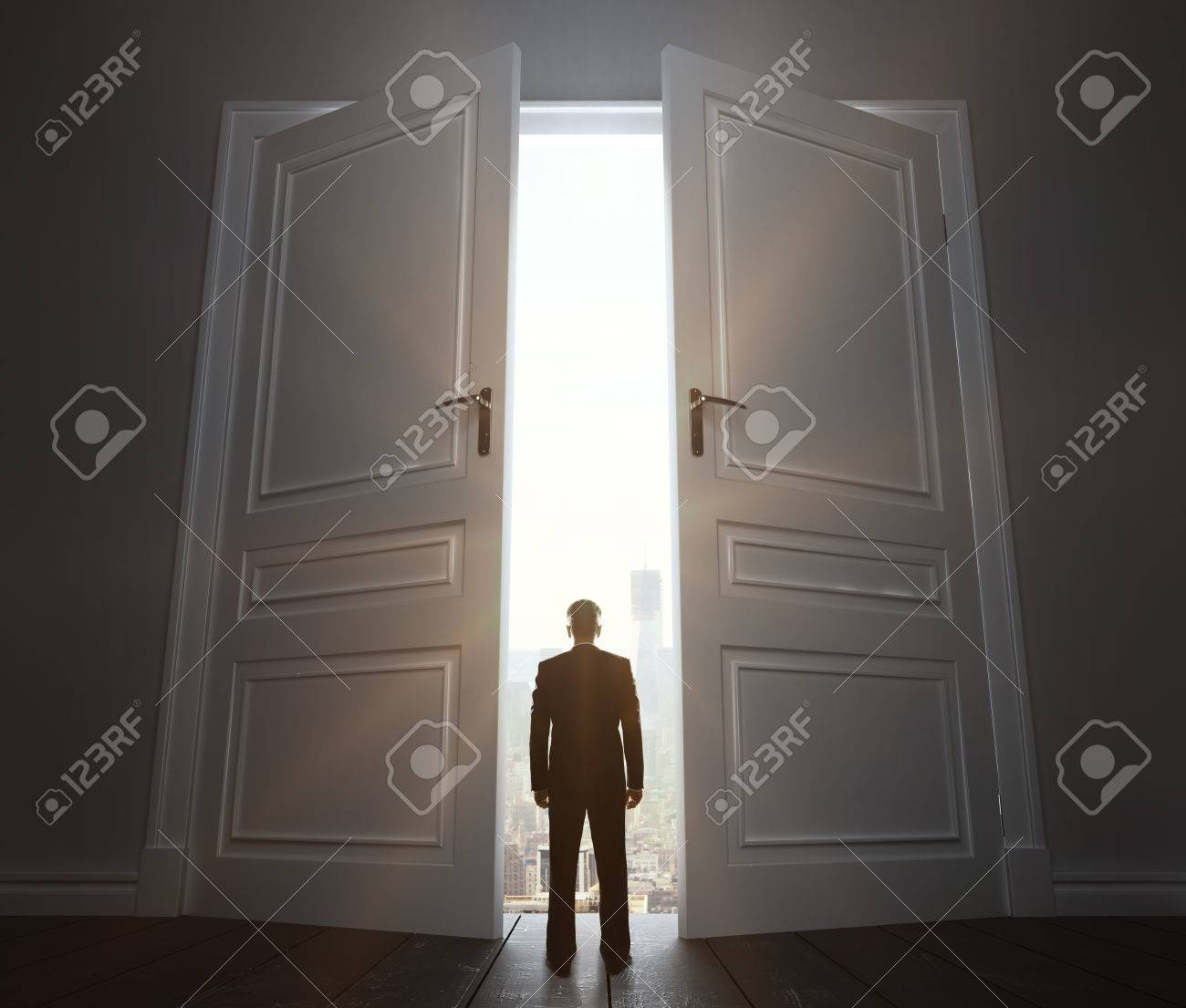 businessman in room with big door to city Stock Photo - 22648351 & Businessman In Room With Big Door To City Stock Photo Picture And ... Pezcame.Com