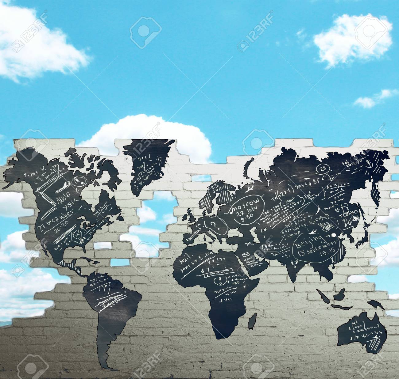 Drawing world map on brick wall stock photo picture and royalty drawing world map on brick wall stock photo 22648365 gumiabroncs Gallery