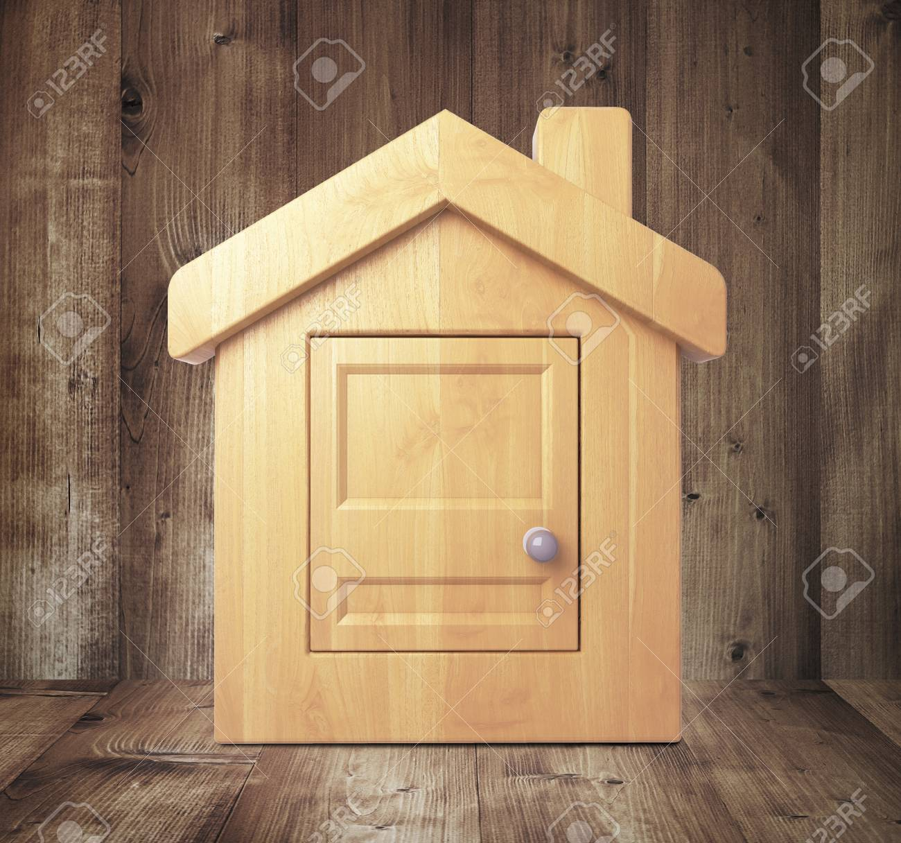 wooden house in wooden room Stock Photo - 23371431