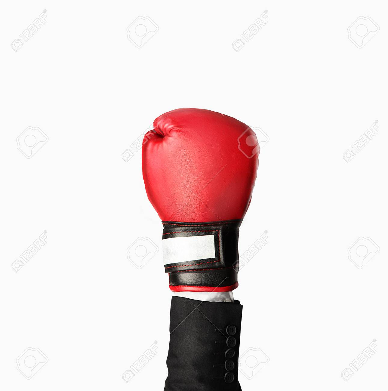 hand in boxing gloves isolated on gray Stock Photo - 23538470