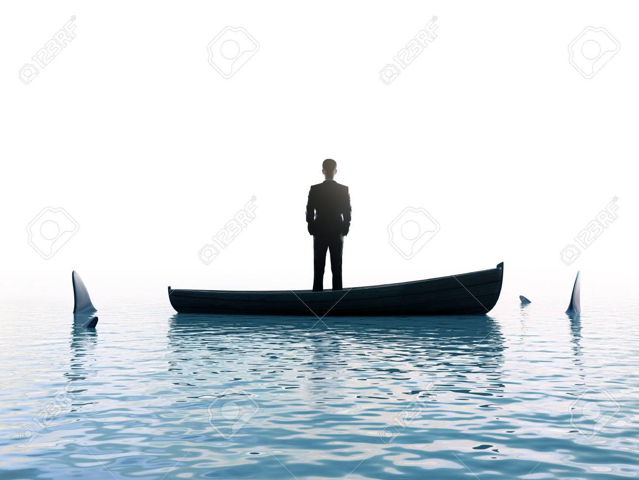 businessman man thinking  boat with sharks around him Stock Photo - 23926173