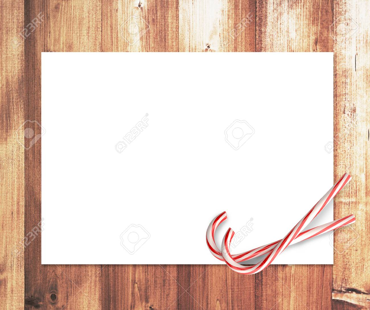 two candy merry christmas and blank placard Stock Photo - 23927721