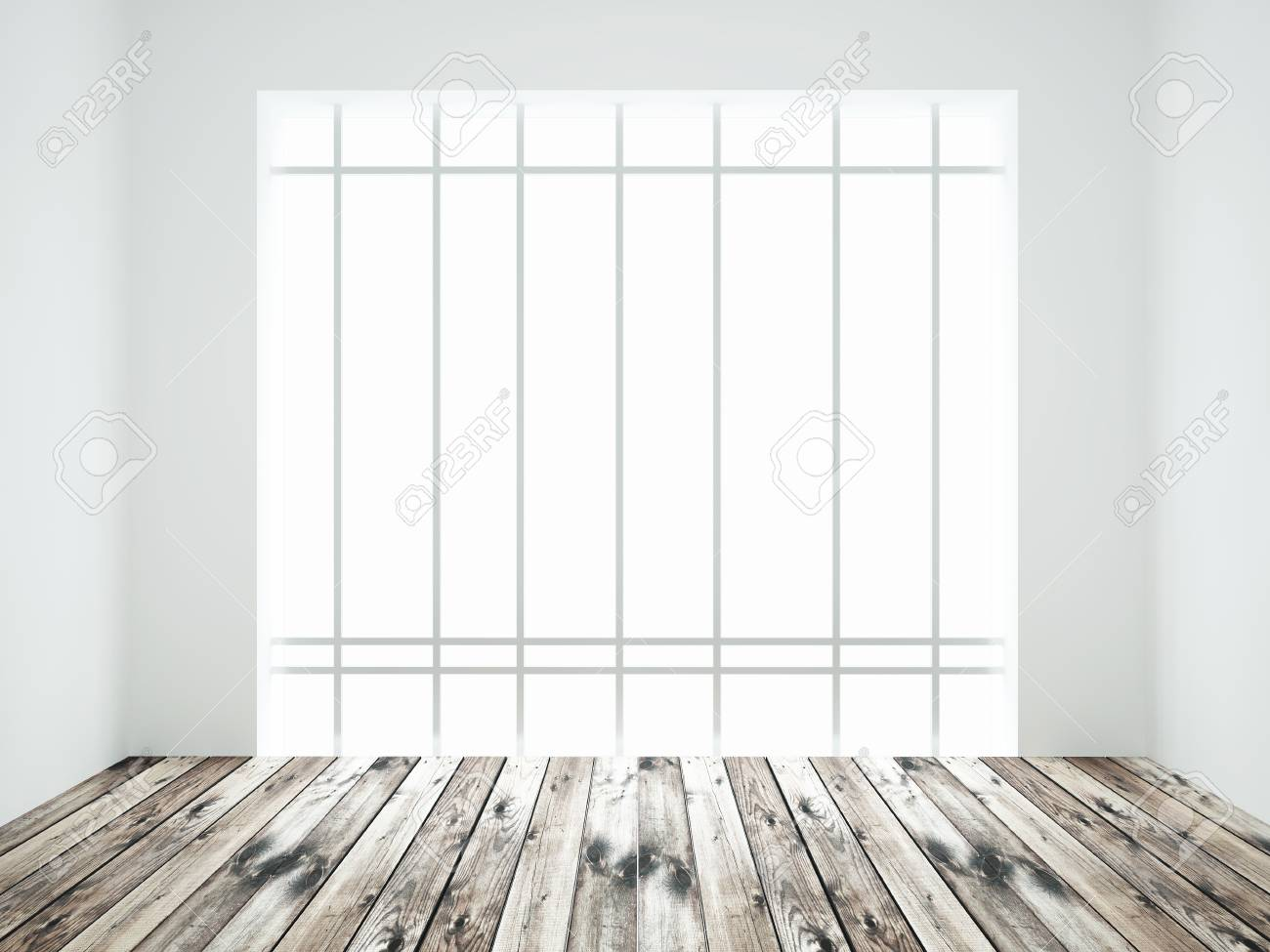 Int Rieur Blanc Avec Plancher De Bois Et Fen Tre Banque D Images Et