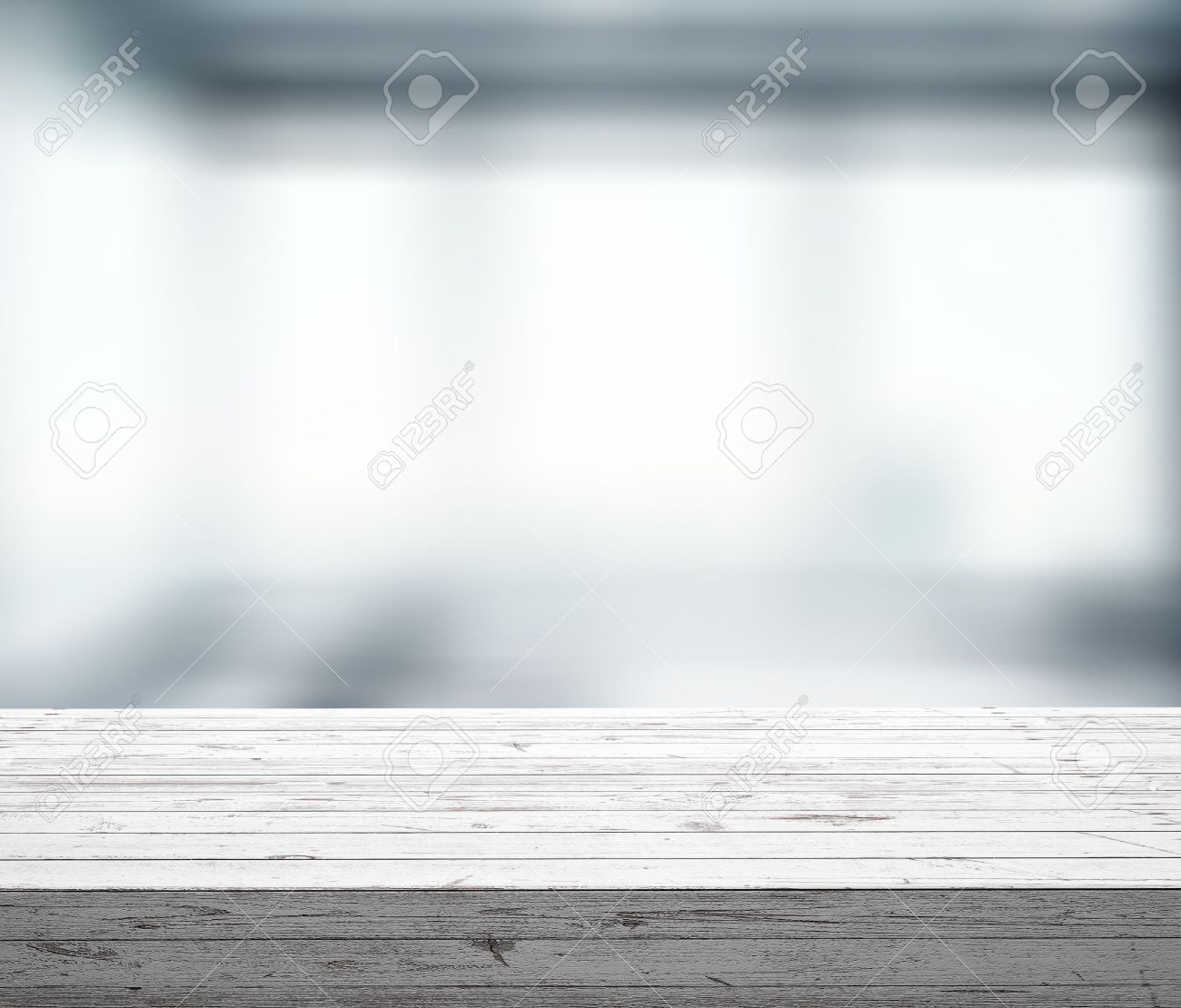 Plain wood table with hipster brick wall background stock photo - Wooden Table With Window Bokeh Close Up