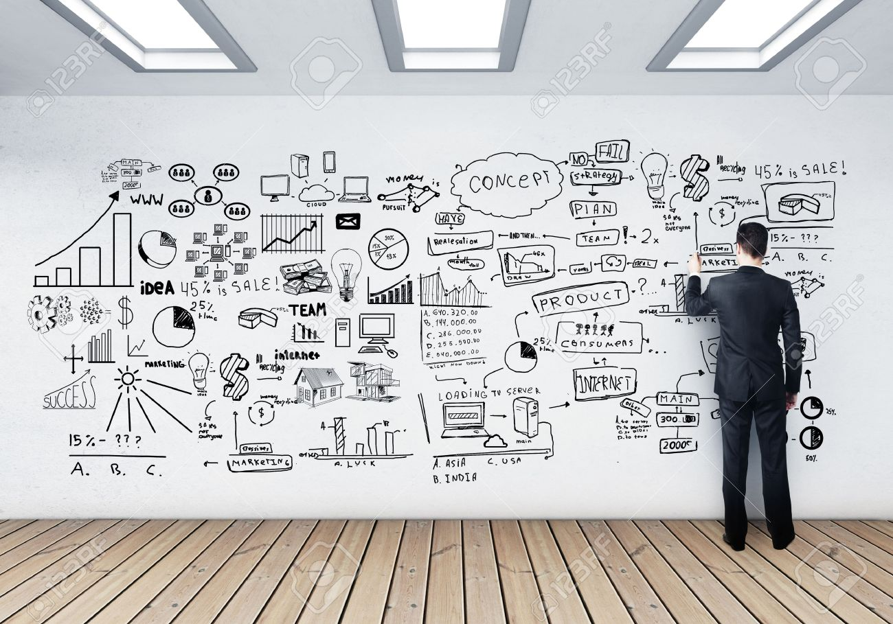 businessman drawing business concept on wall stock photo, picture