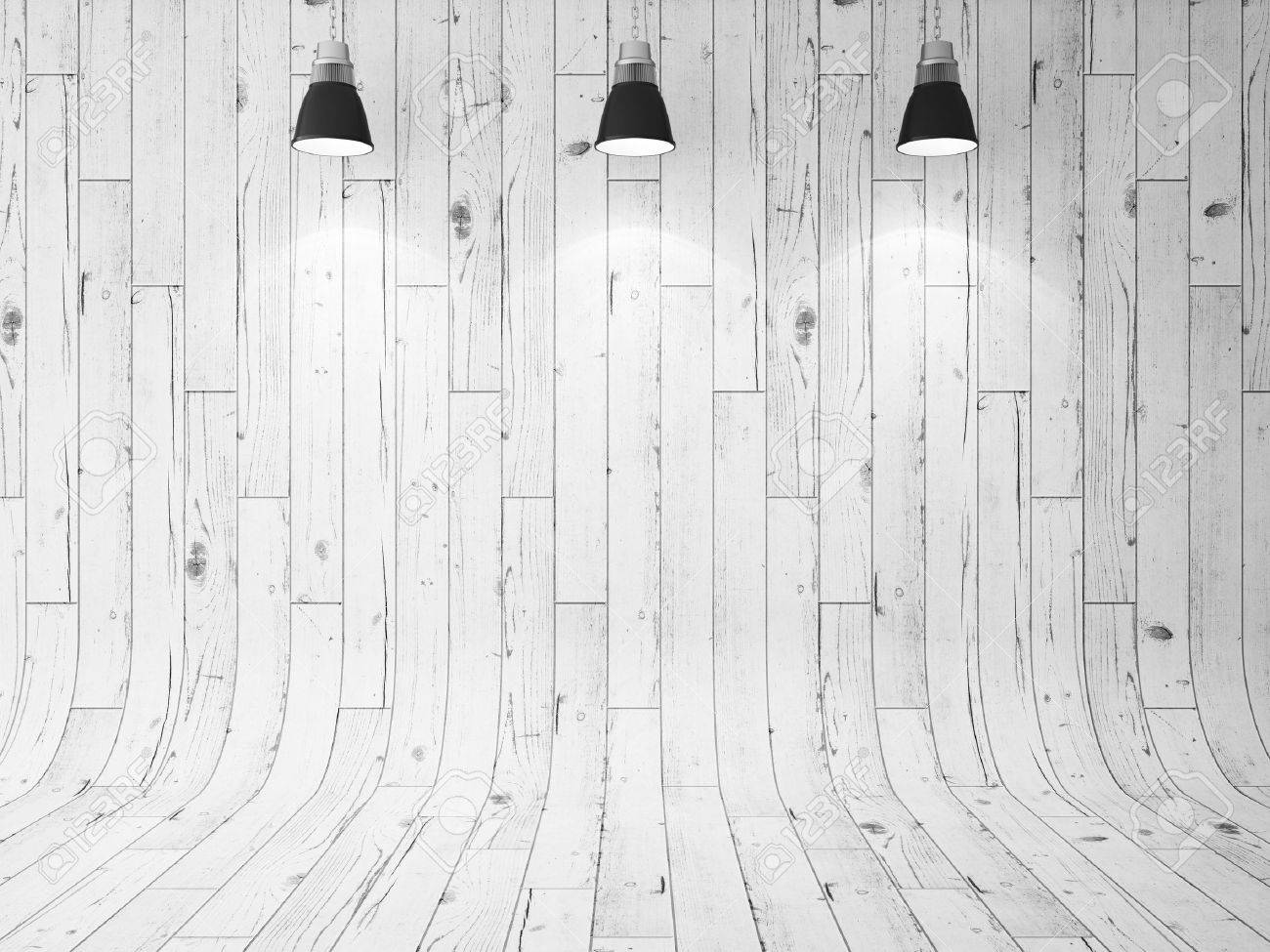 wooden wall and three ceiling lamps. 3d render - 51791212