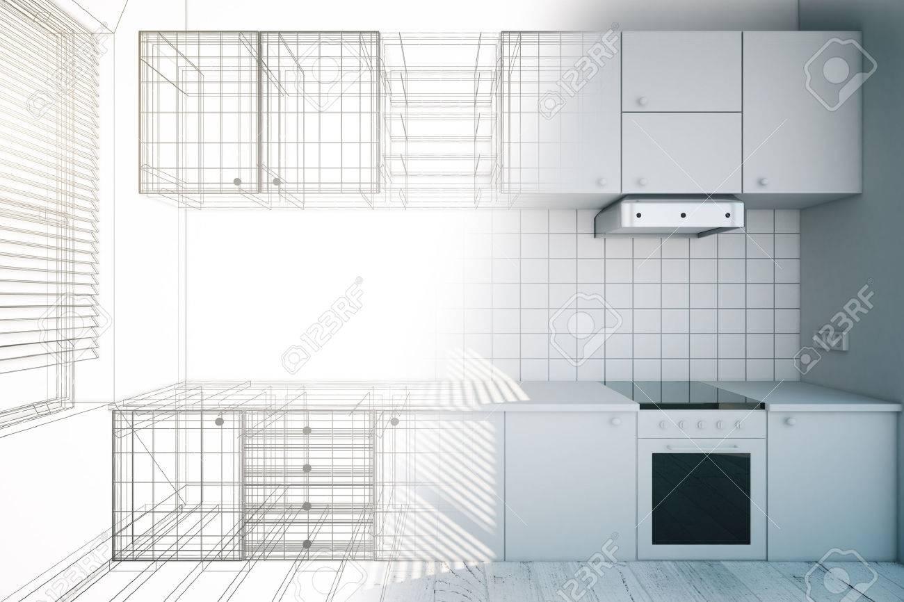 Design of new white kitchen interior with blueprint, 3D Render - 54116335
