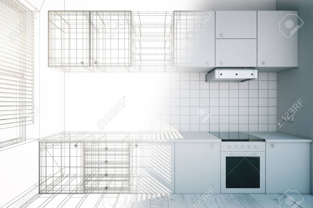 Design of new white kitchen interior with blueprint 3d render stock design of new white kitchen interior with blueprint 3d render stock photo 54116335 malvernweather Images