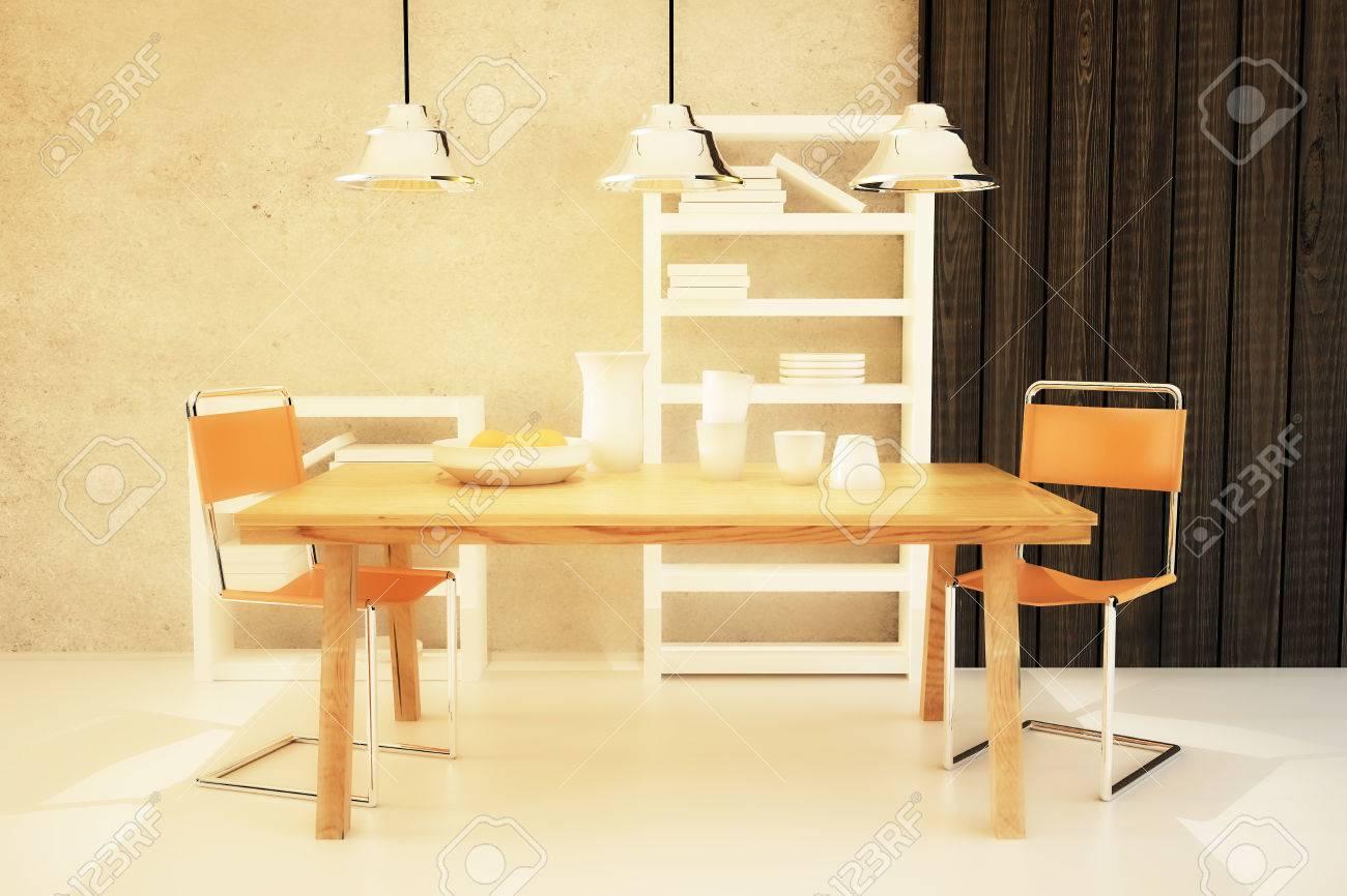 Hölzerner Esstisch Und Stühle Im Modernen Interieur Mit Langen  Drahtgebundenen Deckenleuchten. 3D Render Standard