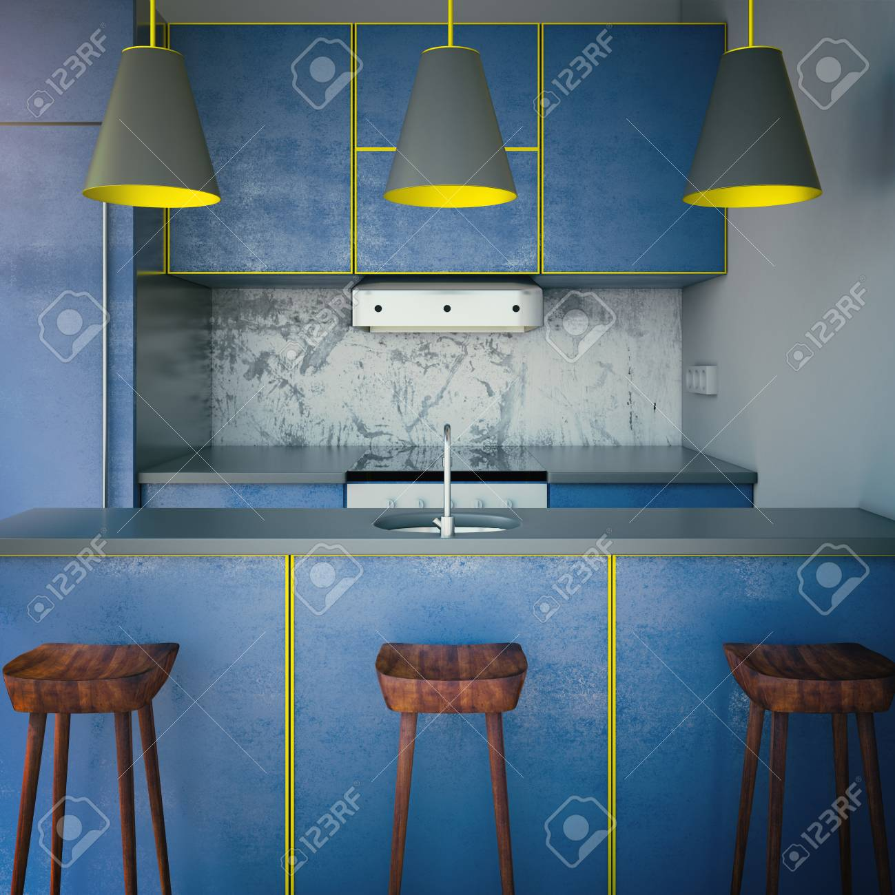 Innenarchitektur Der Modernen Blauen Küche Mit Drei Lampen Und ...