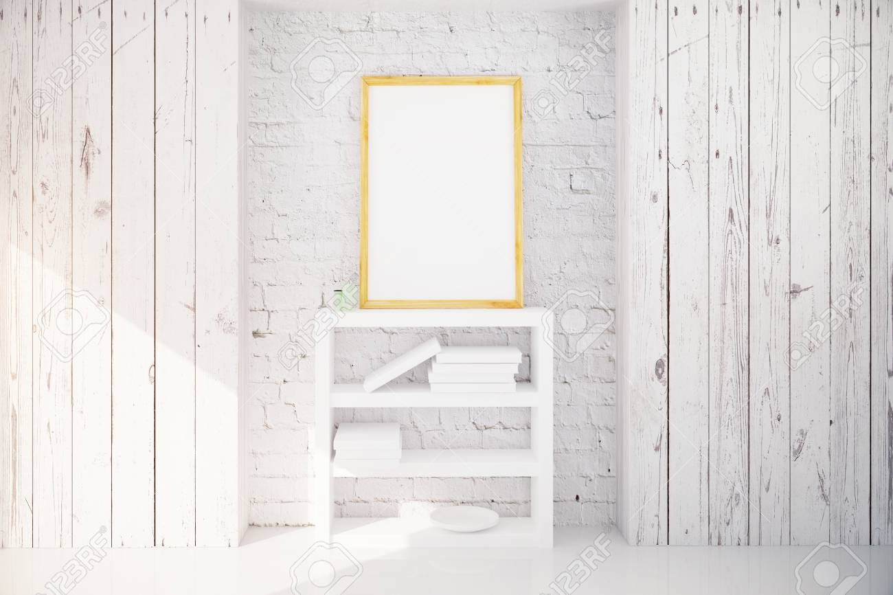 Blank Bilderrahmen Hängen über Bücherregal In Weißen Holz Dachboden ...